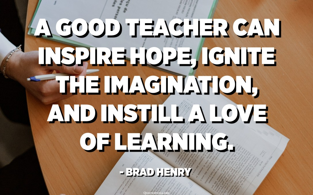 A good teacher can inspire hope, ignite the imagination, and instill a love of learning. - Brad Henry