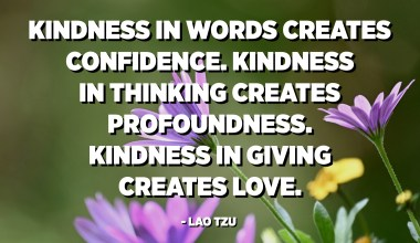 Kindness in words creates confidence. Kindness in thinking creates profoundness. Kindness in giving creates love. - Lao Tzu
