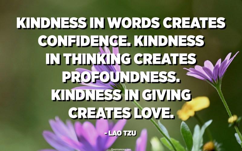 Kindness in words creates confidence. Kindness in thinking creates profoundness. Kindness in giving creates love. - Lao Tzu