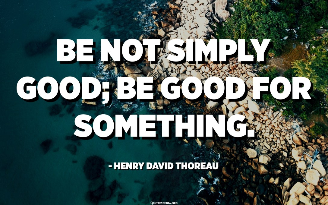 Be not simply good; be good for something. - Henry David Thoreau