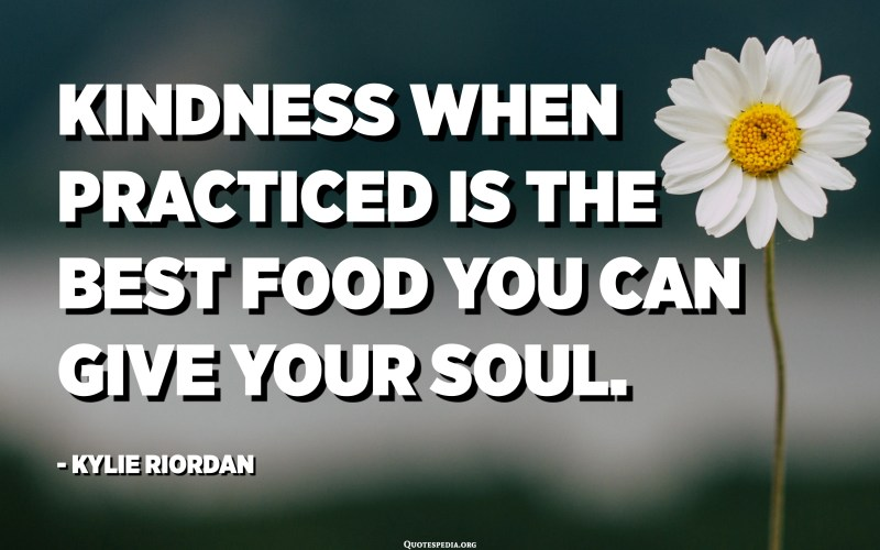 Kindness when practiced is the best food you can give your soul. - Kylie Riordan