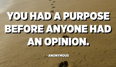 You had a purpose before anyone had an opinion. - Anonymous