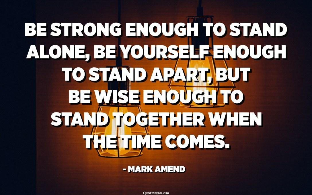 كن قويًا بما يكفي للوقوف بمفردك ، وكن نفسك كافيًا للوقوف بعيدًا ، ولكن كن حكيمًا بما يكفي للوقوف معًا عندما يحين الوقت. - مارك أمند