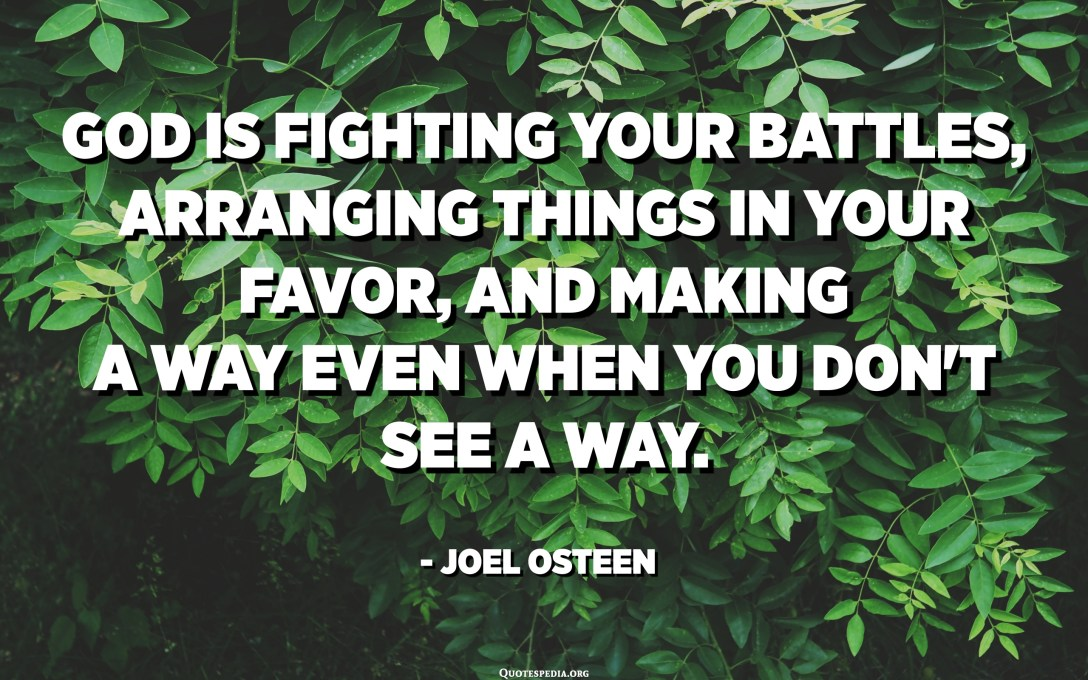 God is fighting your battles, arranging things in your favor, and making a way even when you don't see a way. - Joel Osteen