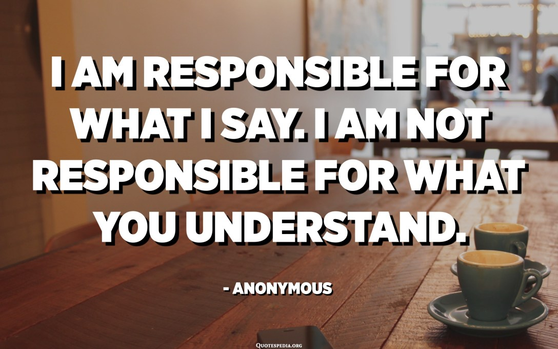 I am responsible for what I say. I am not responsible for what you understand. - Anonymous