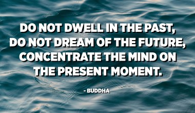 Do not dwell in the past, do not dream of the future, concentrate the mind on the present moment. - Buddha