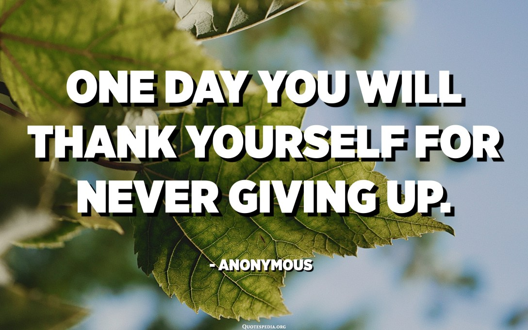 One day you will thank yourself for never giving up. - Anonymous