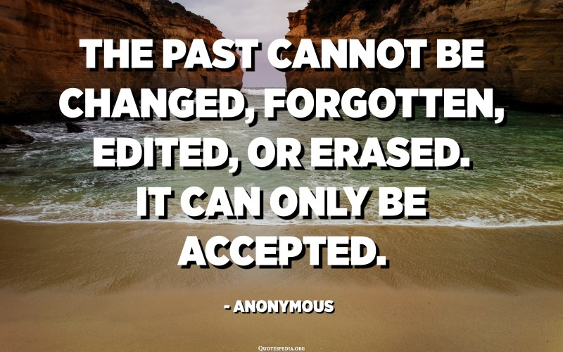 The past cannot be changed, forgotten, edited, or erased. It can only be accepted. - Anonymous