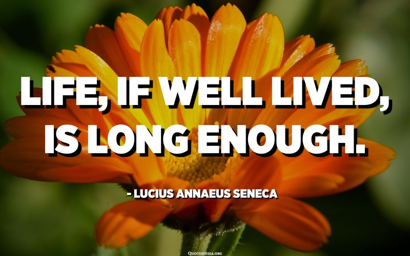Life, if well lived, is long enough. - Lucius Annaeus Seneca