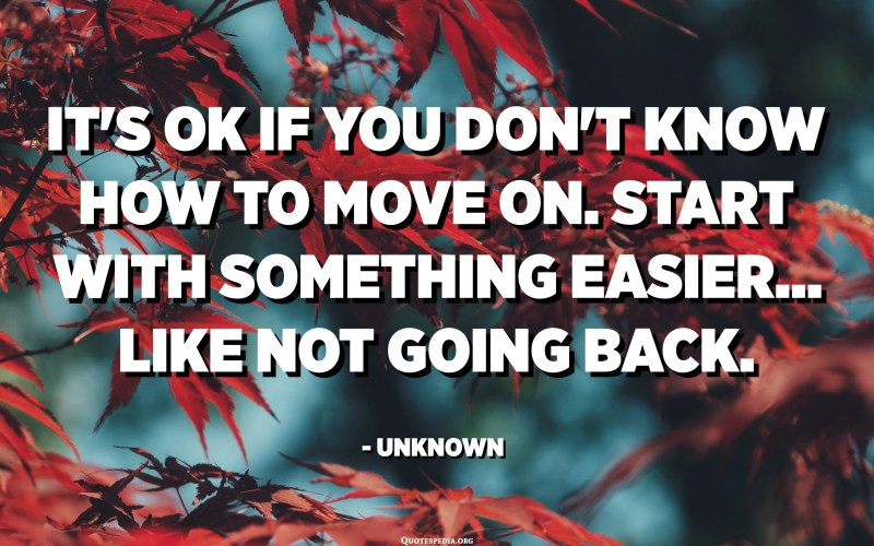 It's ok if you don't know how to move on. Start with something easier... like not going back. - Unknown