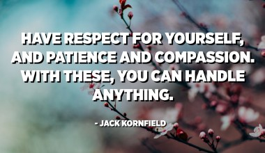 Have respect for yourself, and patience and compassion. With these, you can handle anything. - Jack Kornfield