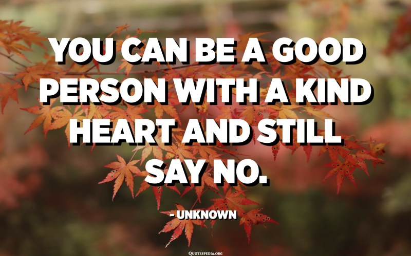 You can be a good person with a kind heart and still say no. - Unknown