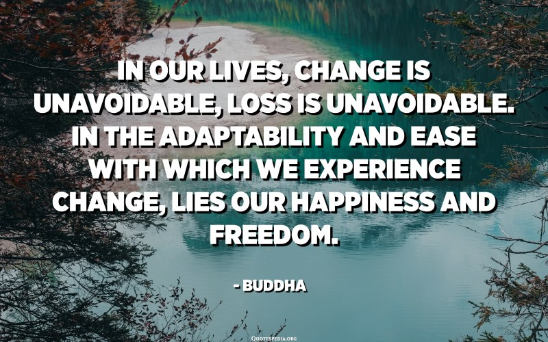 In our lives, change is unavoidable, loss is unavoidable. In the adaptability and ease with which we experience change, lies our happiness and freedom. - Buddha