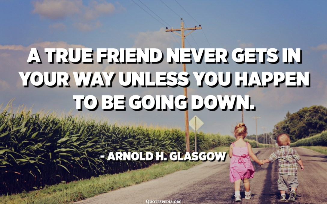A true friend never gets in your way unless you happen to be going down. - Arnold H. Glasgow
