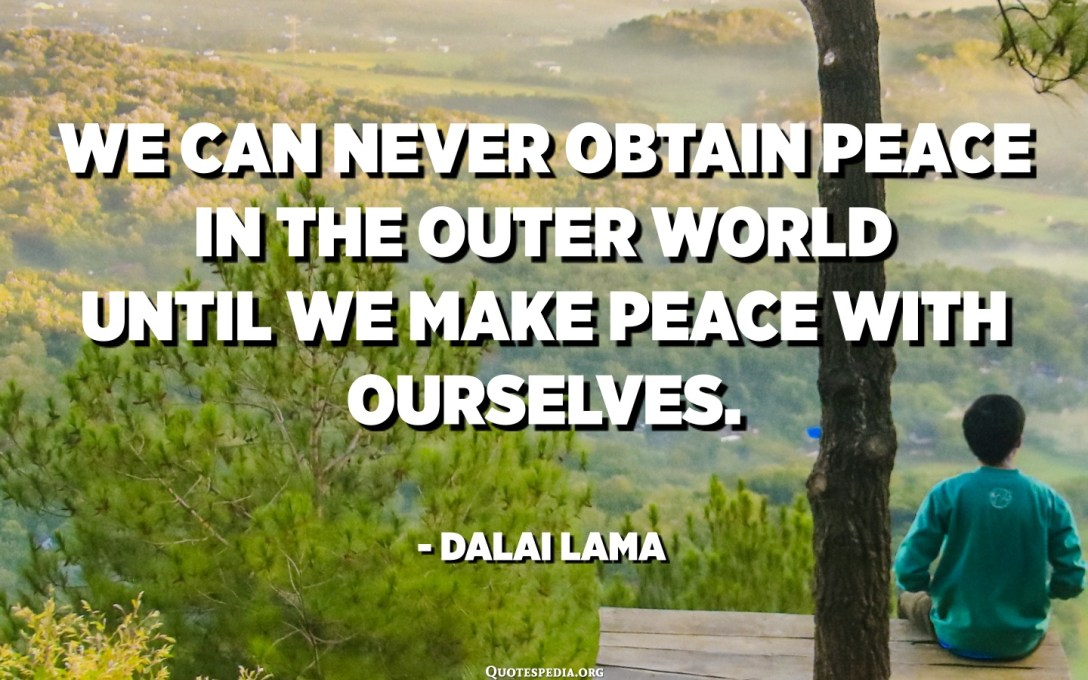 We can never obtain peace in the outer world until we make peace with ourselves. - Dalai Lama