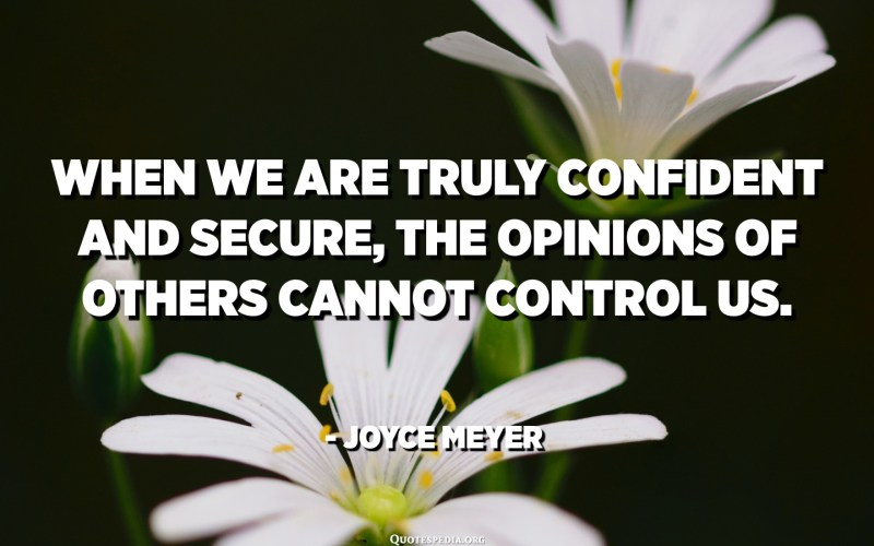 When we are truly confident and secure, the opinions of others cannot control us. - Joyce Meyer