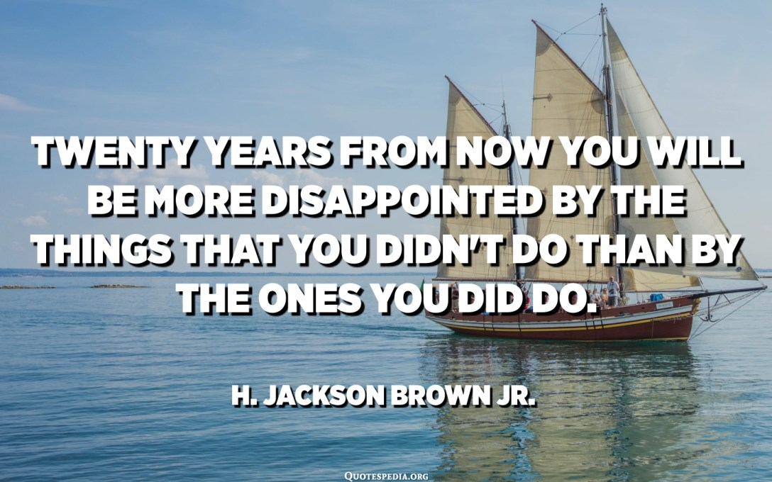Twenty years from now you will be more disappointed by the things that you didn't do than by the ones you did do. - H. Jackson Brown Jr.