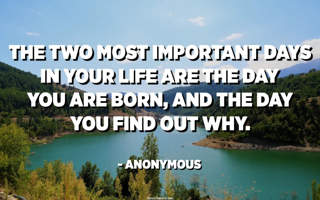 The two most important days in your life are the day you are born, and the day you find out why. - Anonymous