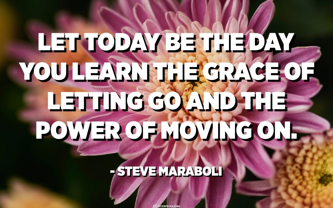 Let today be the day you learn the grace of letting go and the power of moving on. - Steve Maraboli