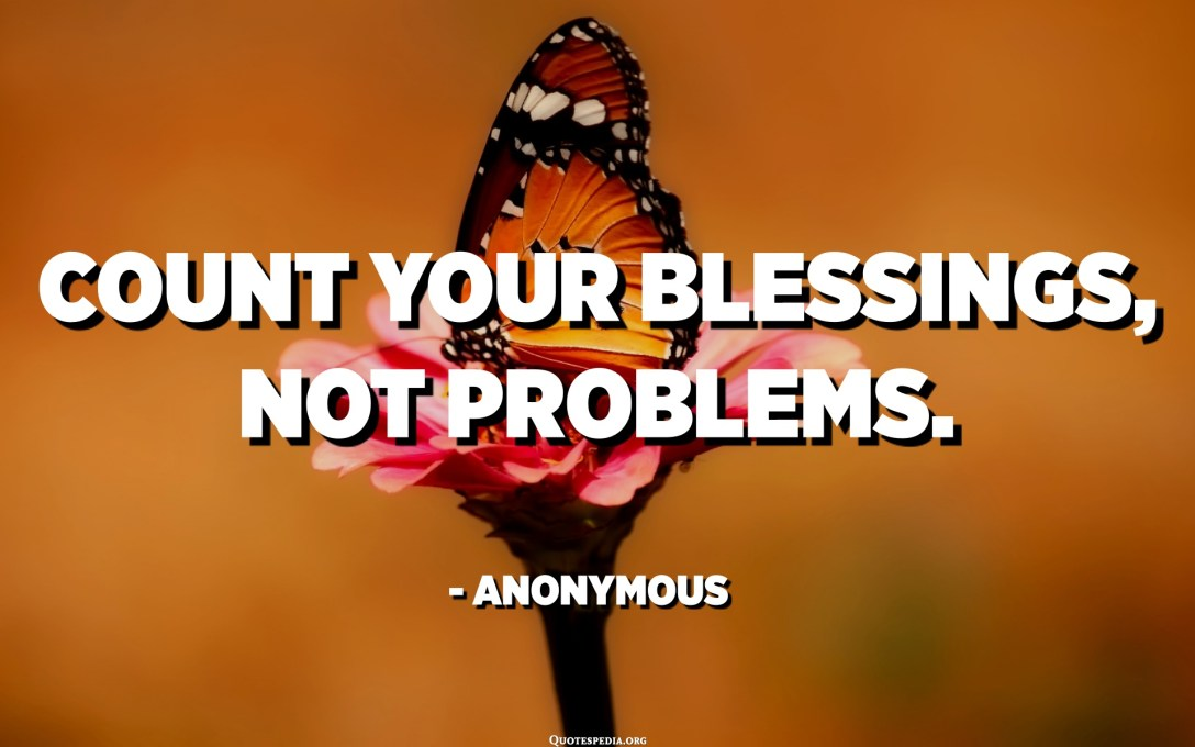 Count your blessings, not problems. - Anonymous