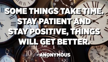 Some things take time. Stay patient and stay positive, things will get better. - Anonymous