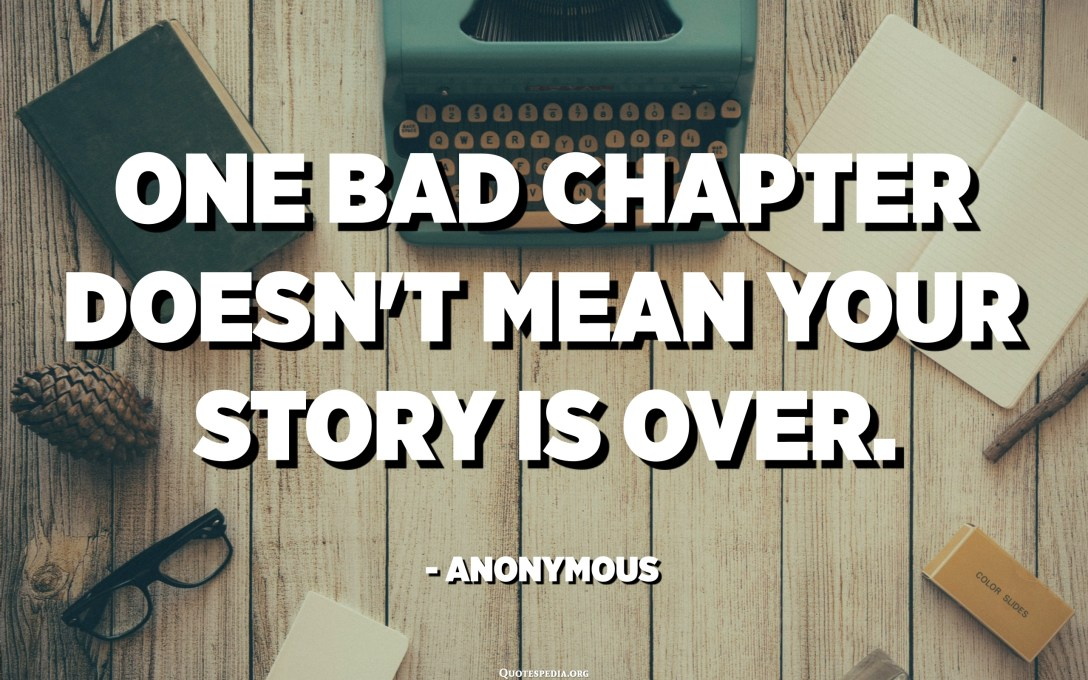 One bad chapter doesn't mean your story is over. - Anonymous