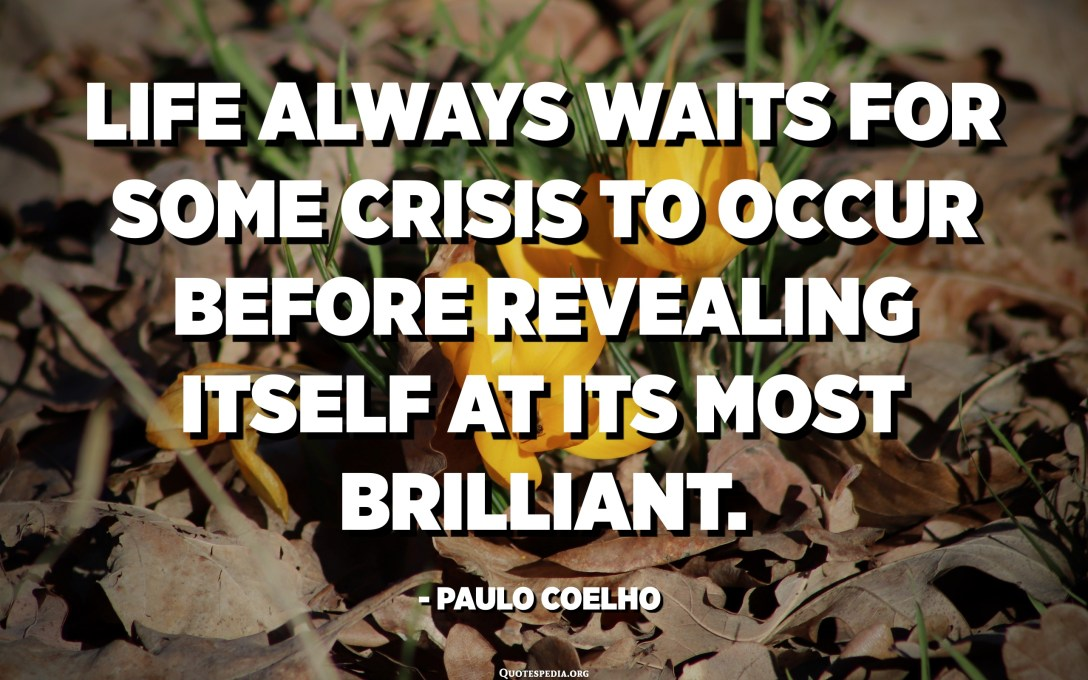 Life always waits for some crisis to occur before revealing itself at its most brilliant. - Paulo Coelho