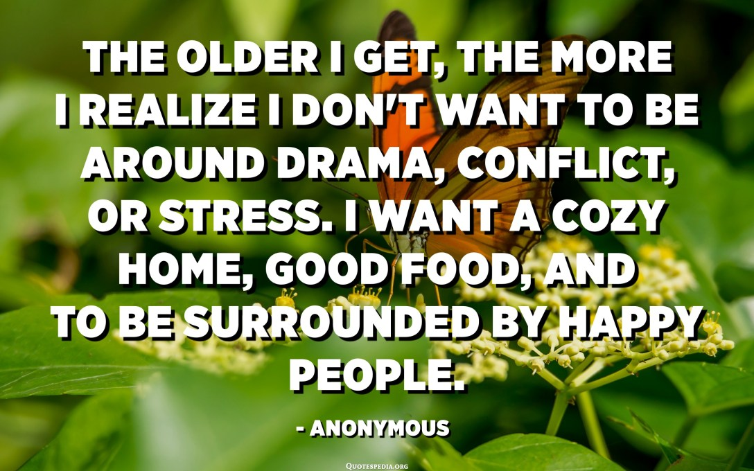 The older I get, the more I realize I don't want to be around drama, conflict, or stress. I want a cozy home, good food, and to be surrounded by happy people. - Anonymous