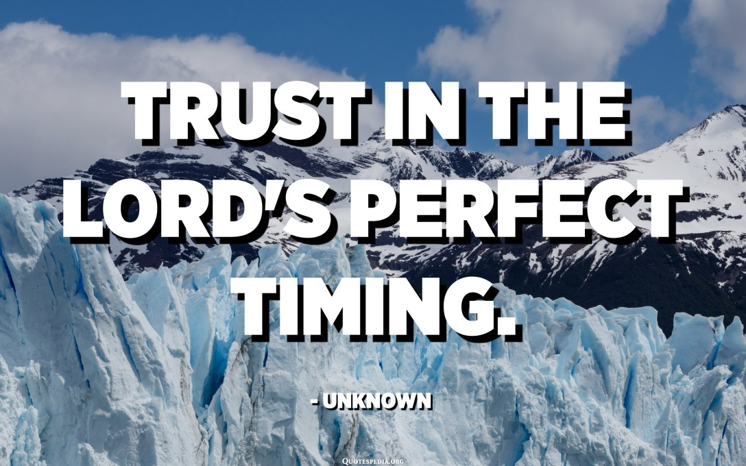 Trust in the Lord's perfect timing. - Unknown