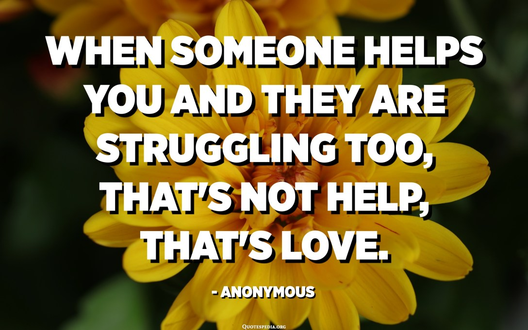 When someone helps you and they are struggling too, that's not help, that's love. - Anonymous