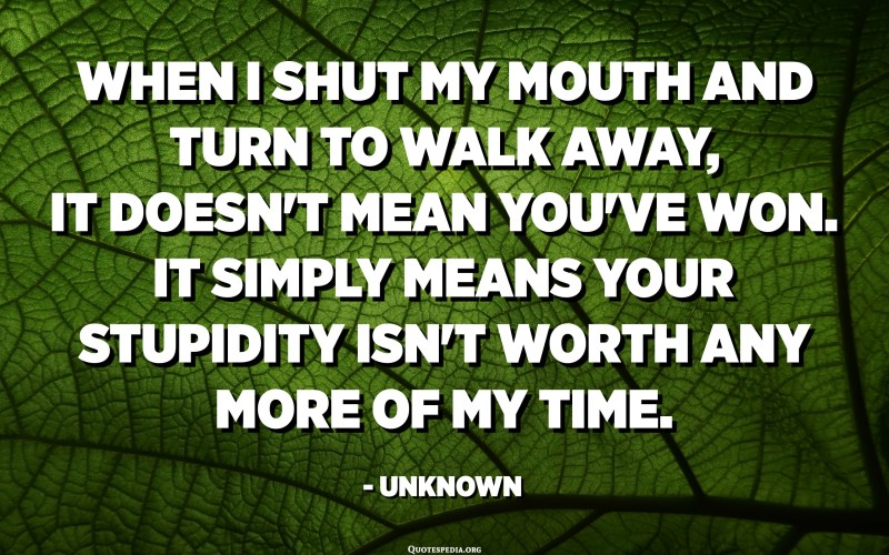 When I shut my mouth and turn to walk away, it doesn't mean you've won. It simply means your stupidity isn't worth any more of my time. - Unknown