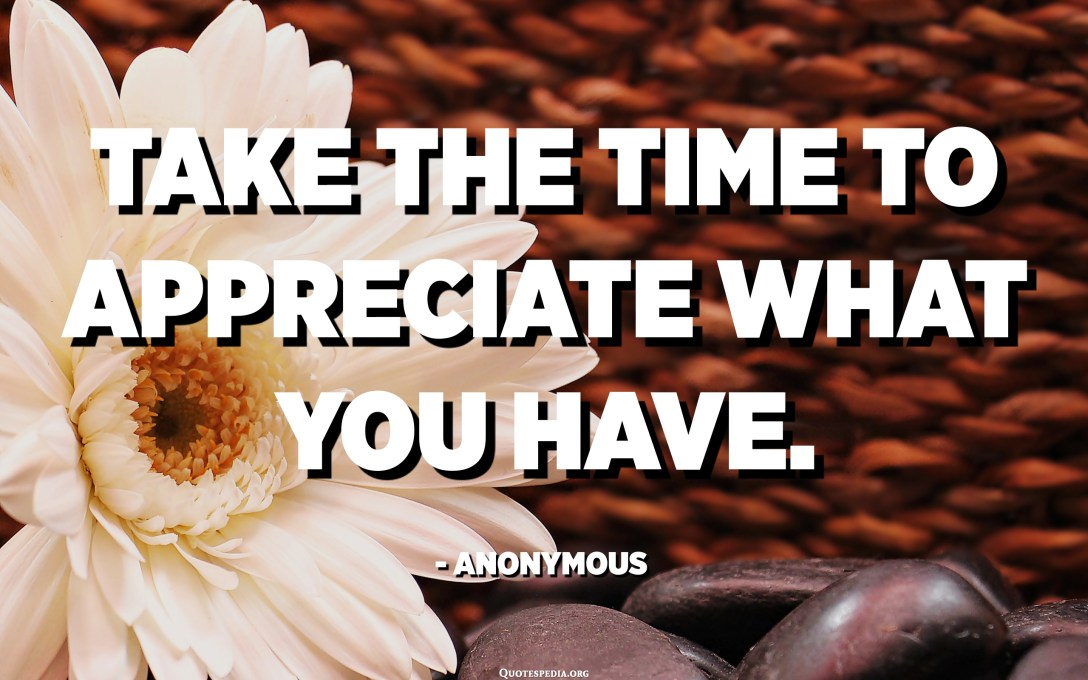 Take the time to appreciate what you have. - Anonymous