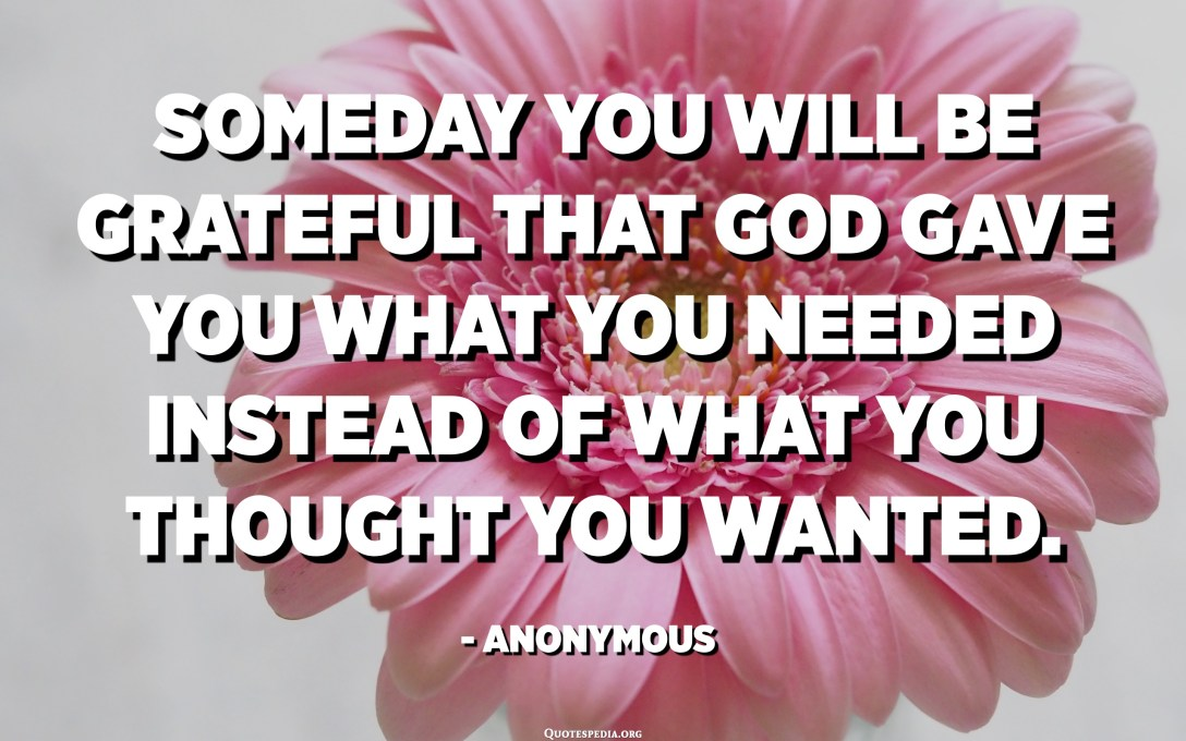 Someday you will be grateful that God gave you what you needed instead of what you thought you wanted. - Anonymous