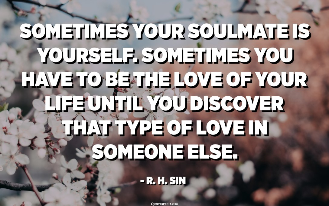 Sometimes your soulmate is yourself. Sometimes you have to be the love of your life until you discover that type of love in someone else. - R. H. Sin
