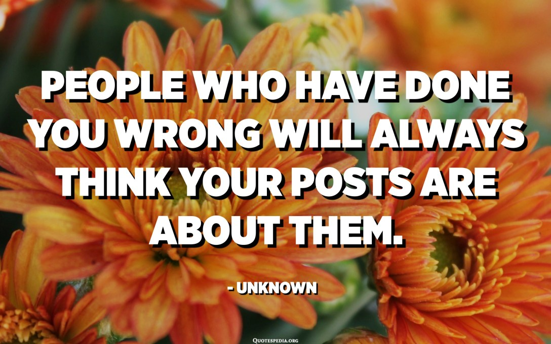 People who have done you wrong will always think your posts are about them. - Unknown