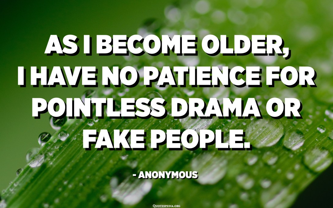 As I become older, I have no patience for pointless drama or fake people. - Anonymous