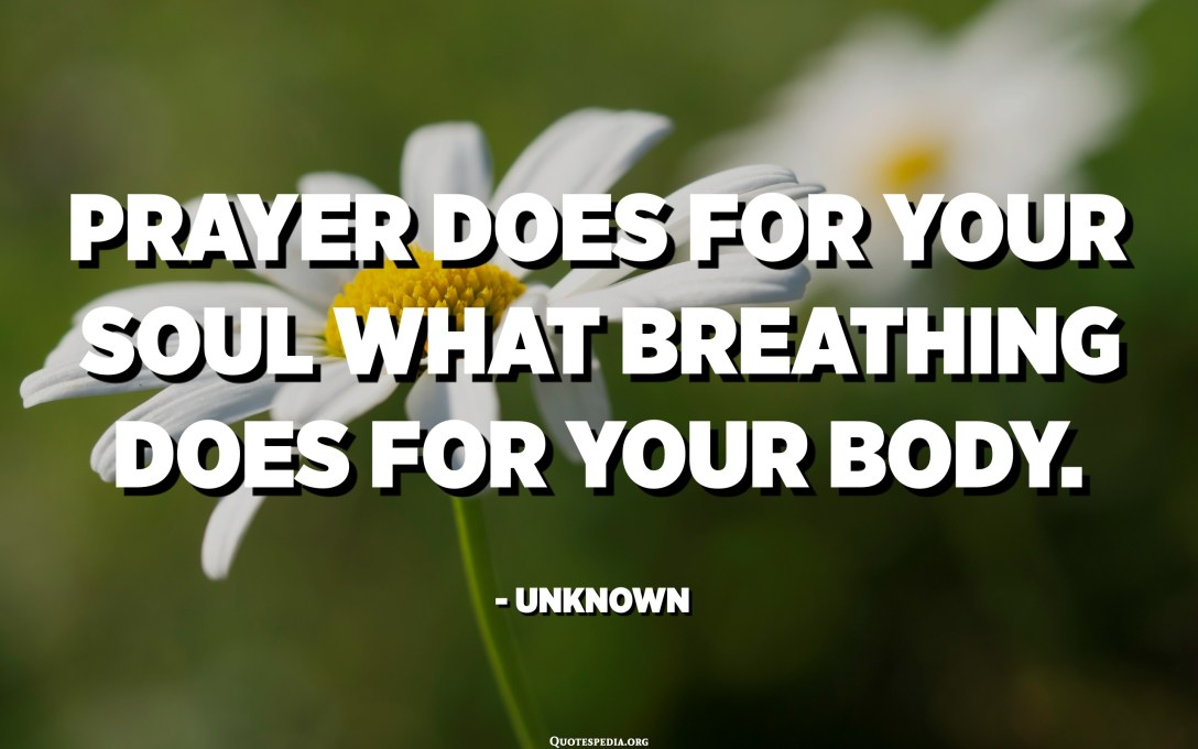 Prayer does for your soul what breathing does for your body. - Unknown
