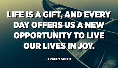Life is a gift, and every day offers us a new opportunity to live our lives in joy. - Tracey Smith