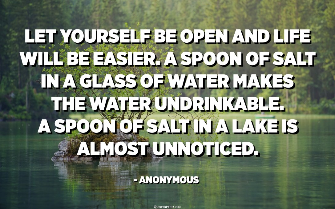 Let yourself be open and life will be easier. A spoon of salt in a glass of water makes the water undrinkable. A spoon of salt in a lake is almost unnoticed. - Anonymous