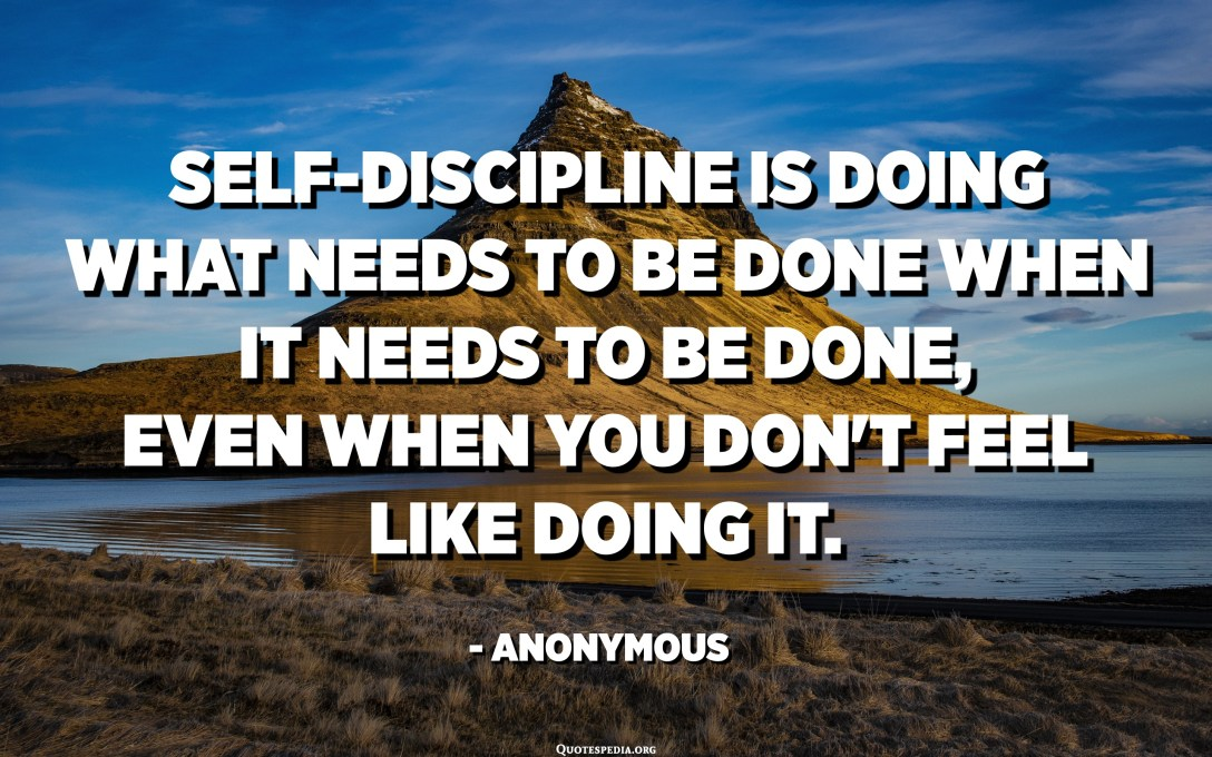 Self-discipline is doing what needs to be done when it needs to be done, even when you don't feel like doing it. - Anonymous
