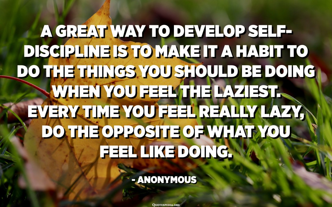 A great way to develop self-discipline is to make it a habit to do the things you should be doing when you feel the laziest. Every time you feel really lazy, do the opposite of what you feel like doing. - Anonymous
