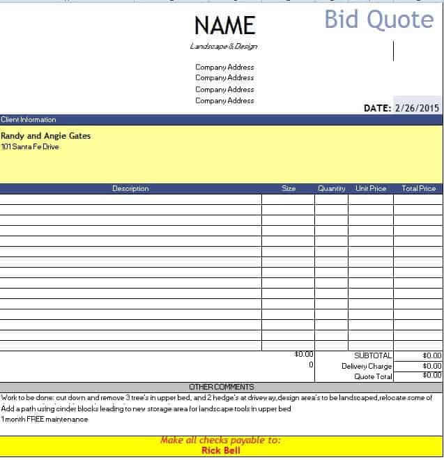 Construction Quotation Bid Quote Template Quotation Templates Quote