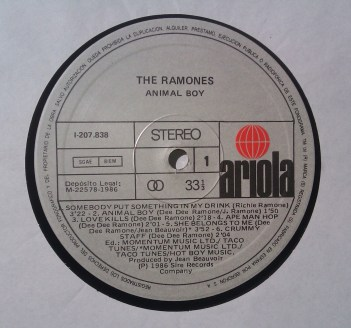 RAMONES Animal Boy -ARIOLA- Cara 1