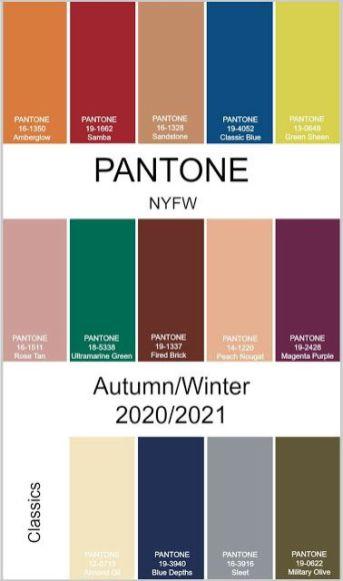 pantone colores 2020