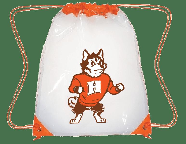 customizable clear drawstring bag