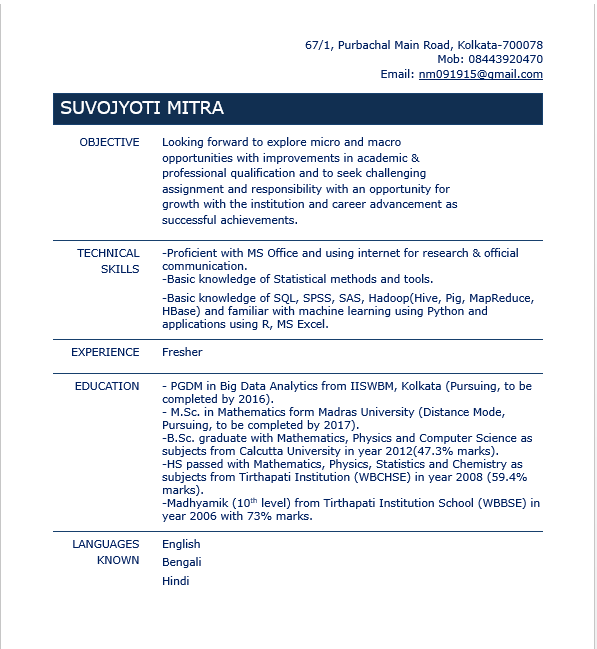 best data scientist resume sample to get a job computer science and
