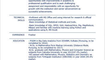 seeking data science job - Data Science Resume