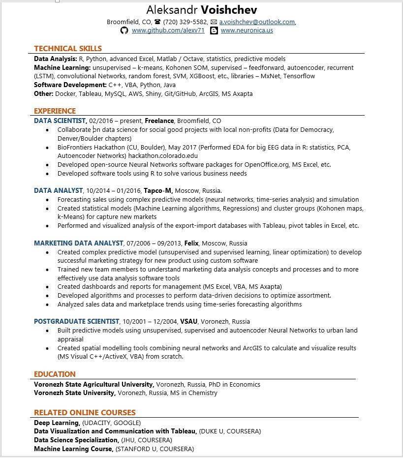 R developer, Data Scientist