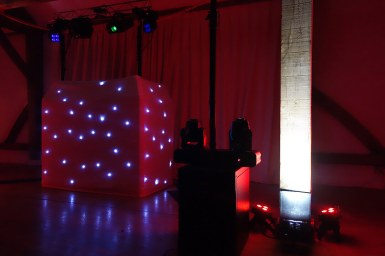 DJ sound and lighting equipment set up by R2 Events and Entertainment in Cornwall
