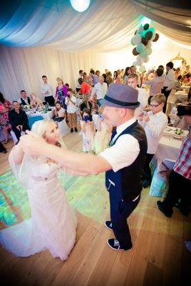 Amy & Dan's First Dance at Their Wedding in Crantock Village Hall, Cornwall